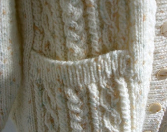 Traditional V Necked Aran Handknitted Cable Jacket for a Plus Size Lady, Cream fleck- Womans Knit Sweater-Ready to Ship