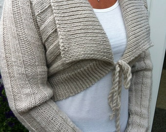 Oatmeal Beige Shrug Long Sleeved Cardigan Womans-Ladies Cropped Cardigan Short Knitted Jacket-Ready to Ship