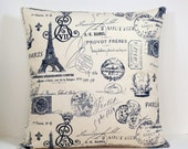 Paris Stamp French Script decorative throw pillow cover 16 18 20 inches accent cushion sham slipcover in navy blue and natural