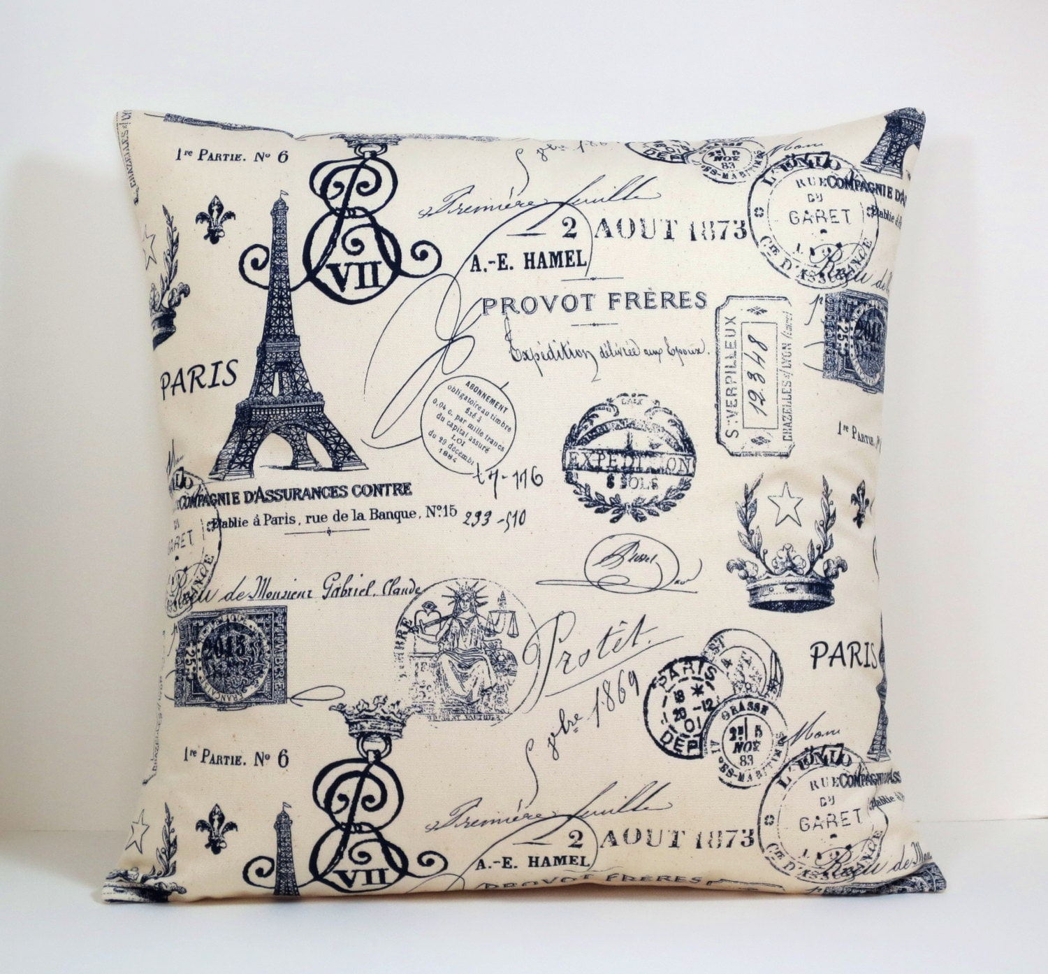 Throw Pillows With French Script : Paris Stamp French Script decorative throw pillow cover 16 18