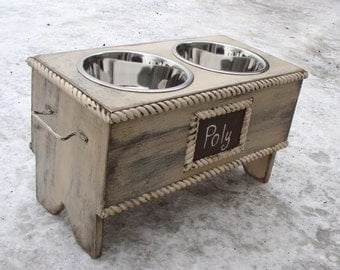 Personalized Dog Feeder Elevated Pet Stand Feeding Bowl Holder Pet Furniture Antique White Distressed Cottage Custom