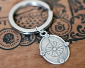Compass keychain, compass key chain, mens gift for dad, gift for boyfriend anniversary, compass rose, personalized, nautical keychain