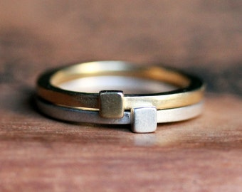 Modern geometric stack rings - 14k gold and recycled sterling silver - square shape -metropolis - made to order