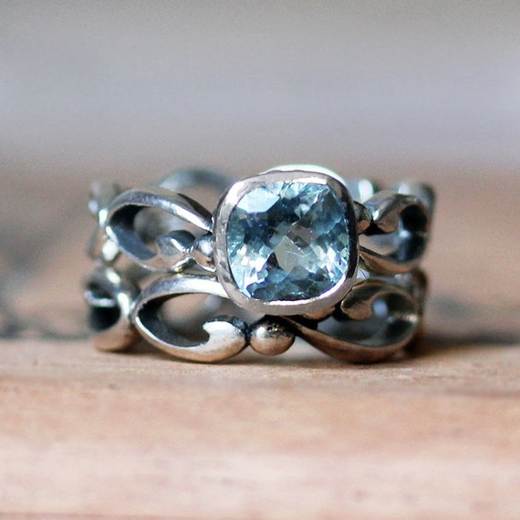 Aquamarine Engagement Ring Set Aquamarine Wedding By Metalicious