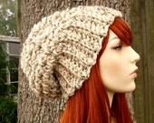 Oatmeal Womens Hat Chunky Slouchy Beanie Slouchy Hat - Souffle Beret Oatmeal Crochet Hat - Oatmeal Hat Oatmeal Beanie Womens Accessories