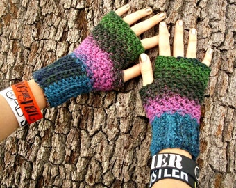 Crocheted Fingerless Gloves Mittens - Fingerless Gloves in Aura Blue Green Pink - Crochet Mittens Womens Accessories - Womens Accessories