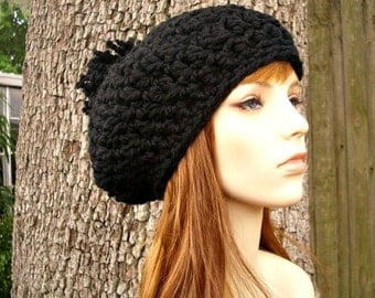 Crochet Hat Black Womens Hat Slouchy Hat - Pom Pom Beret in Black Crochet Hat - Black Hat Black Beret Black Beanie Womens Accessories