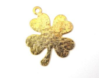 Vintage Gold Plated Textured Four Leaf Clover Charms (4X) (V417)