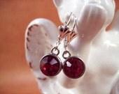 Rhinestone Earrings, Fuschia Glass and Silver Dangle Earrings, Free Shipping U.S.