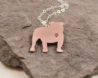 English Bulldog Love Necklace- Copper,Hand Stamped, Sterling Silver,Hand Forged