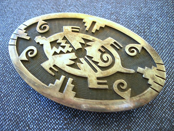Vintage HOPI Belt Buckle Mark Tawahongva Overlay Sterling Silver TURTLE Native American