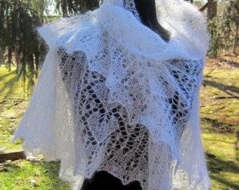 White Wedding Scarf handknit mohair silk