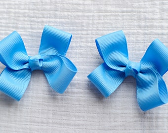Hair Bows, Copen Blue Clippies,Pigtail Hair Bows,Alligator Clips,3 Inches Wide