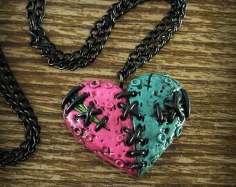 Split Zombie Heart Necklace