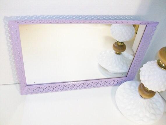 Vintage Filigree Dresser Mirror,Tray, Upcycled To Lavender
