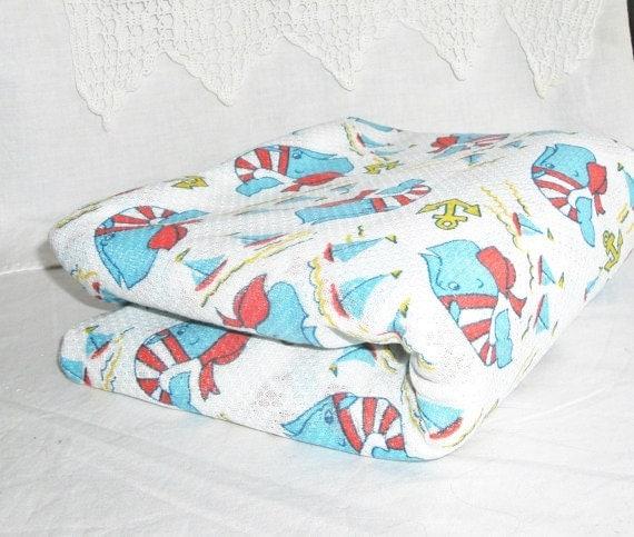 Vintage fabric yardage nautical whales children 39 s print for Vintage childrens fabric prints