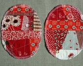 Patchwork Knee Patches - set of 2 red