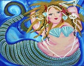 "Whimsical Mermaids Fish Fun Sea Large 40"" x 16"" Original Colorful Folk Art Painting"