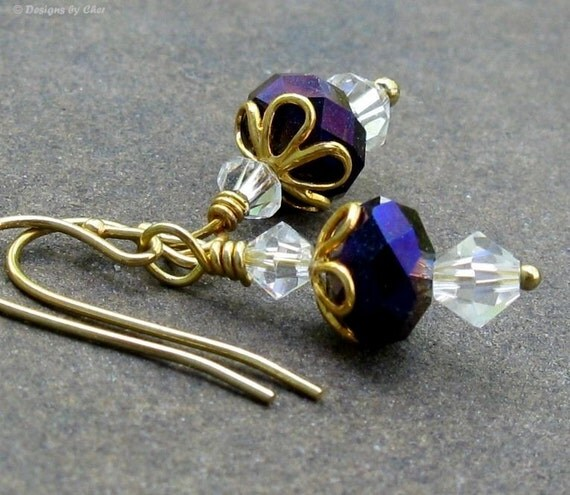 Heliotrope Purple Gold Earrings, Swarovski Moonlight Crystals ... Delicate Dangle Earrings