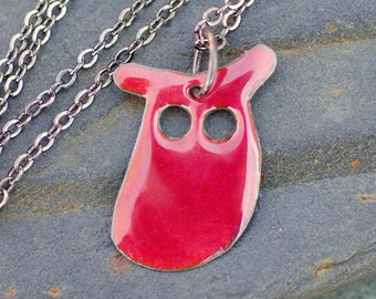 Enamel Owl Pendant, Necklace, Copper, Enameled Jewelry - Bright Pink