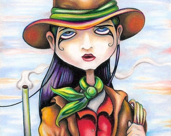 Daddy Didn't Raise No Girly Girl limited edition aceo atc art print by Bryan Collins