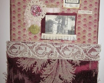 Enjoy Everything...Collage Fabric Altered Book Cover Assemblage Art