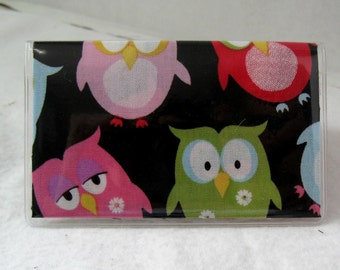Business Card Holder Owls on Black Mini Wallet