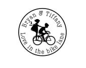 Wedding kids on bike custom rubber stamp save the date bicycle