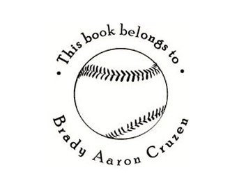 baseball This book belongs to Rubber Stamp Bookplate ex libris