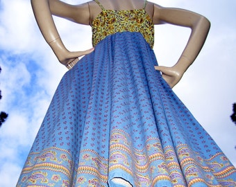 Batik Sundress OOAK Circle Skirt Blue Yellow Pink Hippie Upcycled Festival Sundress Cruise Resort Maternity Dress Boho Gypsy S M Adult Dress