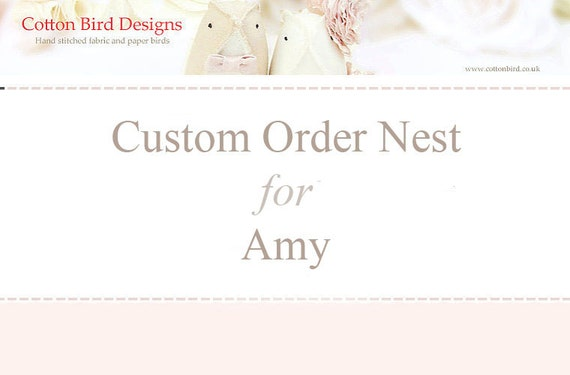 Reserved Custom Order for Amy Wedding Ring Bearer Nest Sculpture Home Nursery Decor Wedding Cake Topper
