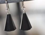 Black Cone Swarovski Specialty Cut Dangle Earrings