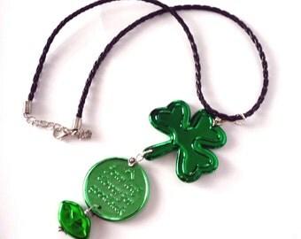St Patricks Day Necklace   Shamrock  Lucky Coin Irish Kiss  St Paddys Necklace