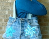 Upcycled Pants Turquoise Blue Flowers Recycled Butt Bag