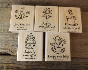 Stampin Up, Rubber Stamps, 2003 Stamps, New Unused, Destash, Wood Mounted