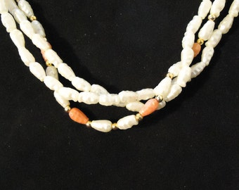 Vintage Pearl and Coral Colored Necklace