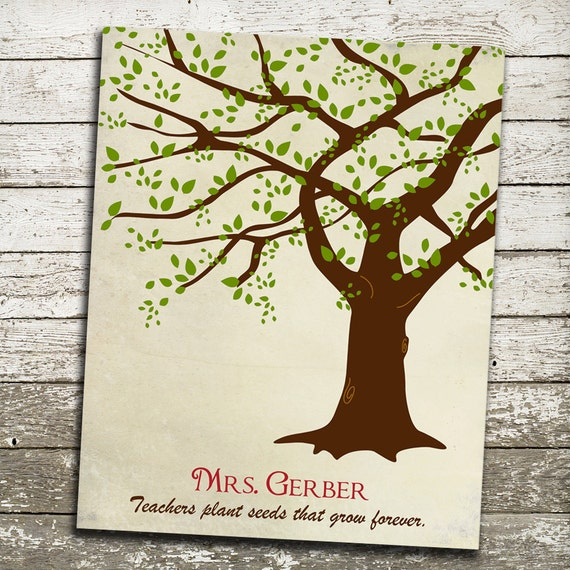 Teacher Appreciation Gift Print - Custom Tree Wall Art - Personalize with Teachers Name and Quote - 8x10