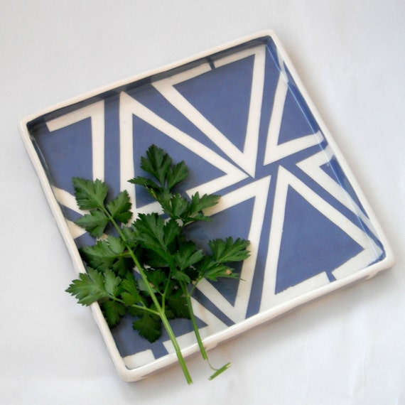 Ceramic serving tray Indigo triangles- ready to ship