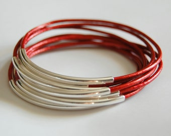 Leather Bracelet - Leather Bangle - Red Bangle - Red Leather Bracelet - Boho Bracelet - Boho Leather Bracelet - Boho Stackable Bracelets