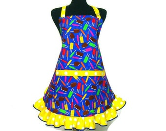 Popsicles and Ice Cream Apron with Ruffle and Pocket.  Blue with Yellow Retro Kitchen Decor, Ice Cream Parlor, Hostess / Waitress