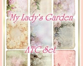 My Lady's Garden Cottage Chic Victorian Floral ATC Set Digital Printables INSTANT DOWNLOAD
