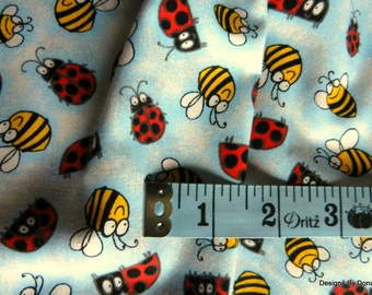 "SALE, Clearance, Last 17"", Quilt Fabric, Cute Bumble Bees, Cute Ladybugs, Light Blue White Sponged Look, Sewing-Quilting-Craft Supplies"