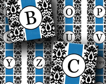 INSTANT DOWNLOAD Blue Damask Alphabet Digital Images Sheet Two Sizes One 1 Inch and 7/8 Inch Squares for Tile Pendants Crafts (GS158,GSS158)