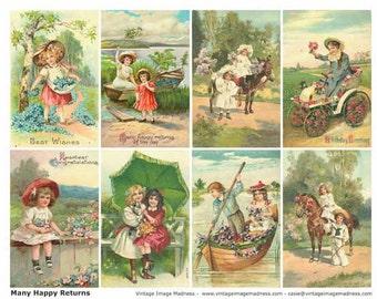 MANY HAPPY RETURNS Vintage Postcards - Instant Download Digital Collage Sheet