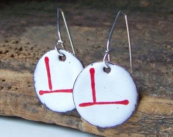 Enamel Jewelry, Enamel Earrings, White and Red Stripe Enamel, Enamel on Copper, Copper Enameled, Etsy, Etsy Jewelry