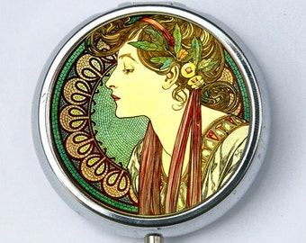 Art Nouveau goddess green PILL CASE pillbox pill holder Girl mucha