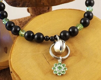 Peridot Green and Black Pearl Le Chat Chic Swarovski crystal luxe kitty collar with strong magnetic clasp