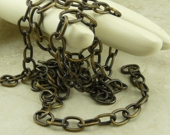 1 Foot TierraCast 9x6mm Embossed Cable Chain > Brass Ox Plated Brass American Made - I ship Internationally 0325