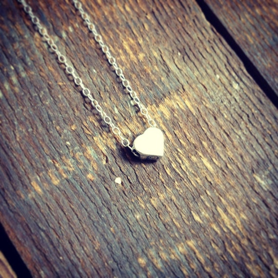 just a little love necklace   sterling silver charm necklace   heart necklace   gift for her