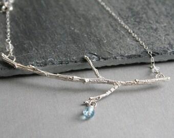 Sterling Silver Branch Necklace with Sky Blue Topaz & Quartz